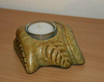 Soapstone candle holder piece