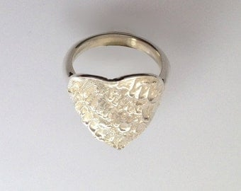 Large silver heart ring, handmade, gift boxed, free post.