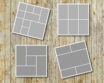 "Photo storyboard template 20""x20"" for photographers, photoshop templates, instant download, commercial use, S05"