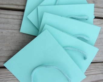 50 Pack - Turquoise Gift Bags 5.5 x 3.5 x 6 Heavy-Weight Paper