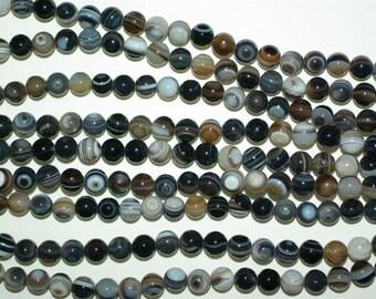 Botswana Agate Round Beads 8mm Full or Half Strand