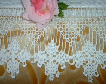 White lace for crochet border. Cotton border with flowers and bows. Crochet home decor curtains. To order.