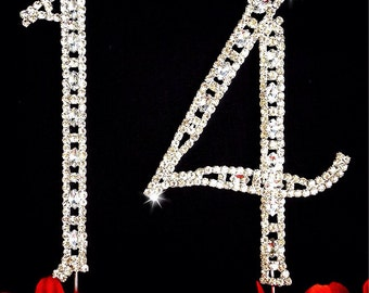 14th Birthday Number Cake Topper  Large Rhinestone Crystals Cake Decorations