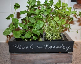 Vintage Inspired Distressed Herb Planter Crate- Garden Chalkboard Crate- Wood Crate- Flower Planter Crate Wood Box
