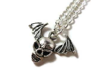 Silver Skull Necklace, Winged Skull, Flying Skull Charm Necklace, Gothic, Skeleton Pendant Necklace, Halloween, Teen and Women's Jewelry