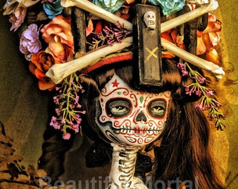 Beautiful Mortal Day of the Dead Bone Princess Doll canon PRINT 357 Reproduction by Michael Brown