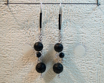 Black Lava Rock Earrings, Silver 925, Volcanic Jewelry