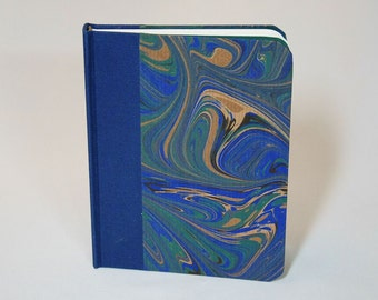 Blank travel journal, handmade in blue, green and gold colors