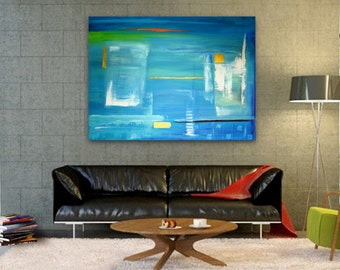 Original Abstract Painting handmade artwork 36x48 Large turquoise blues contemporary landscape, modern artwork, beautiful wall decor art