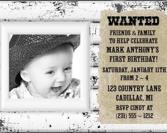 Rustic 1st Birthday Invitation, Boys First Birthday Invitation
