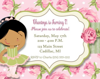 Shabby Chic Ballerina Invitation - Girls Ballerina Birthday Invitation by FabPartyPrints