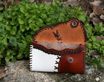Wallet, purse leather, aged beef, sewn with tireta