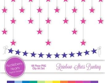Digital Star Bunting, Digital Star Strings, Rainbow Star Clip Art, Celebration Stars (PNG) 300 DPI