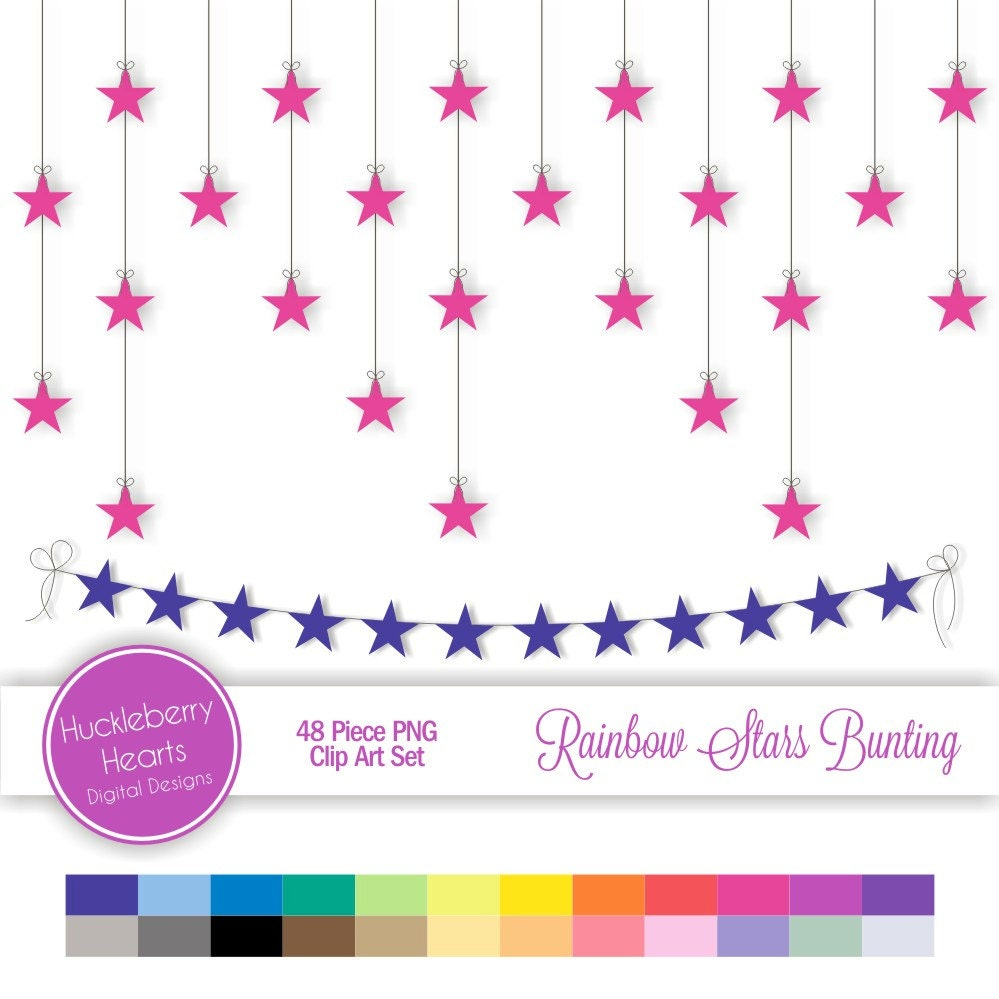 Digital star bunting strings rainbow clip