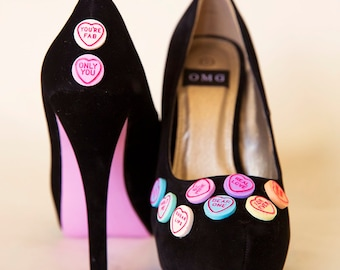 High Heel Shoes - Pink Love Heart Design - Hand Painted Heels Customised By OMG SHOES
