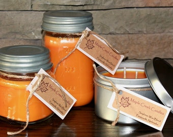 FUZZY NAVEL Maple Creek Candles ~ Peaches & Oranges ~  3 sizes, Fun Rustic Lid