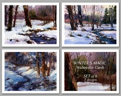 Winter's Magic - Set of 6 NOTE CARDS - Watercolor Paintings by Linda Henry (NCWC071)