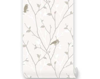 Branch and Birds Beige PEEL & STICK Repositionable  Fabric Wallpaper