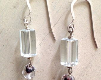 Antique Crystal and Glass Bead Earrings