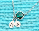 Rhodium Plated, Simple Two Personalized Stamped Initials on Leaf Charm, Diamoind Shaped Green Glass Connector Droplet,  Necklace