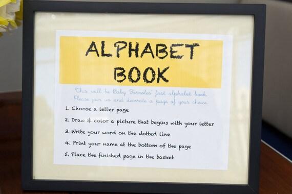 Babyu0027s First Alphabet Book   A Baby Shower Game / Gift   Digital Download  PDF