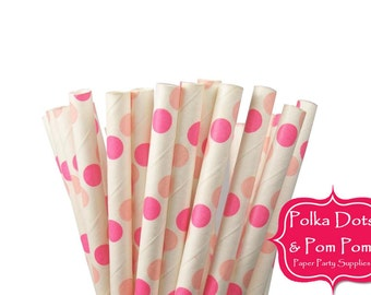 25 PINK and HOT PINK Large Polka Dot Paper Drinking Straws / Birthday Party Decoration Ideas and Supplies / Wedding / Baby Shower