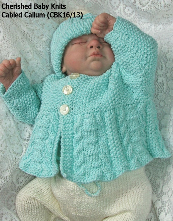 CABLED CALLUM Pram Set Knitting Pattern by CherishedBabiesKnits