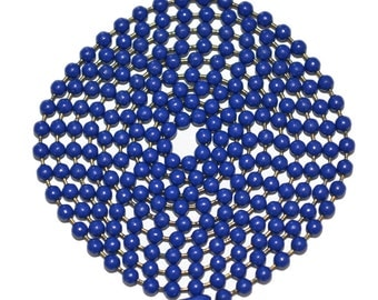 """Blue Ball Chain Stainless Steel 30 Inch Military Style Mens Chain Made in the US 30"""" 2.4MM Fashion Necklace Pendant Army Style"""