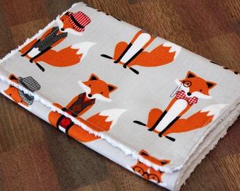 ON SALE- Modern, cotton chenille burp cloth- Foxes