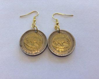 South Africa 5 Rand Two-Toned, Bi-Metal Coin Earrings