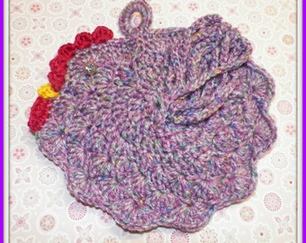 Crocheted purple tweed chicken pot holder