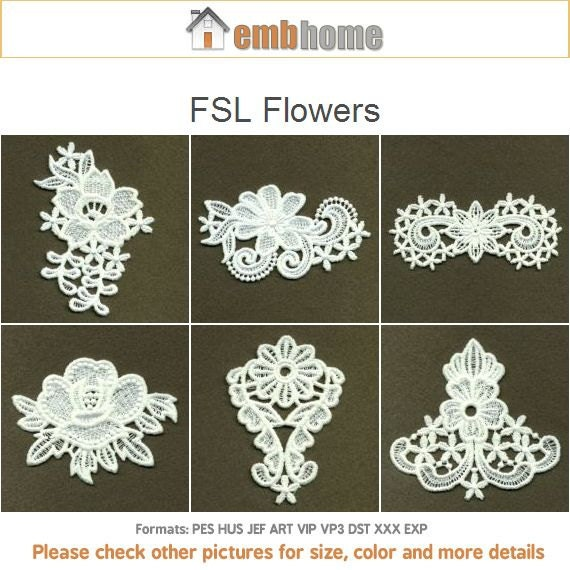 Fsl flowers ornament free standing lace machine embroidery