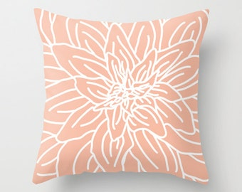 Modern Abstract Spring Flower Pillow Cover - Peach - Pastel Home Decor - By Aldari Home