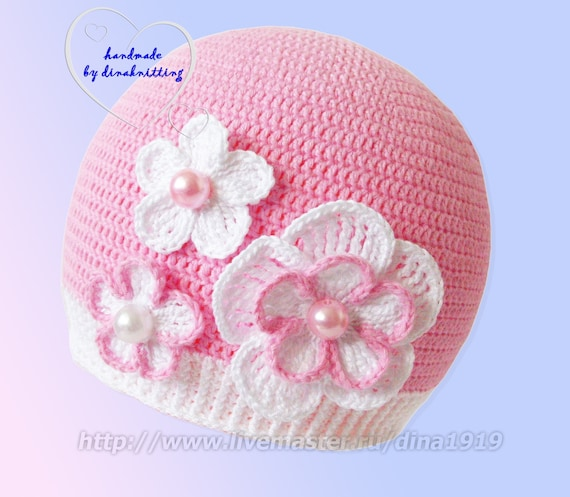 Ready to Ship:Girls Crochet Hat, Girls Hat, Childrens Hat, Crochet Beanie, Crochet Hat with Flower, Hats for Girl