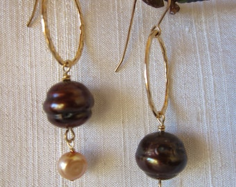 Brown and Gold Pearl 14K Gold Filled Handmade Earrings