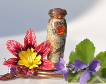 Asian Designer Glass Vase Lampwork Focal Bead