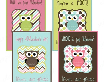 Personalized Kid Valentine Cards . Boy or Girl Printable Valentine card . Owl Valentine card set . PRINTABLE