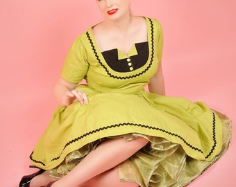 Retro Dress - Pinup Dress - Tuxedo Dress - Pin Up Dress - Pinup Fashion - Pin Up Clothing - Rockabilly Dress - Custom Size - Plus Sizes