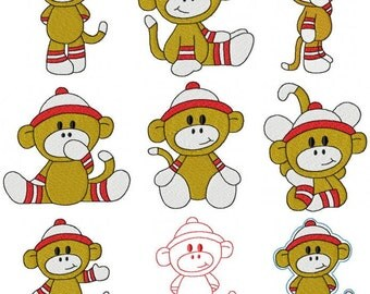 28 Baby Boy Set #2 Sock Monkey Machine Embroidery Design Files 4x4 & 5x7