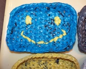 plarn soap dish with smiley face