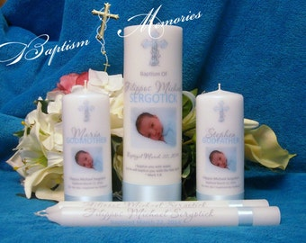 Baptism Christening Candle with God Parent Candle and Tapers With Flourish Cross