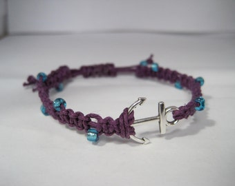 Macrame Hemp Bracelet Adjustable w/ Anchor Connector