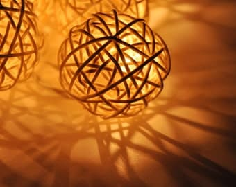 20 White Rattan Ball String Lights for Party Wedding and Decorations
