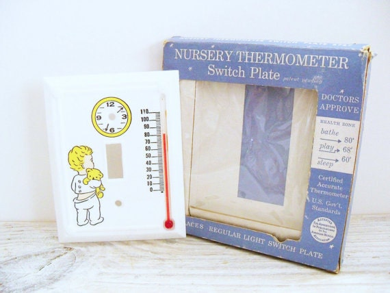 Thermometer Switch Plate Baby Nursery Excello 1950s No 5757 Original Box
