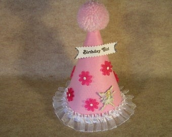 Children's Pink Felt Birthday Hat with Pink Pom Pom, Flowers, Fairy and Trim