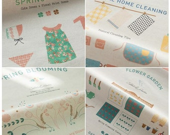 "Scandinavian Style Fabric Cotton/Linen Blended Panel, ""Spring Blooming"" 6 Design Package"
