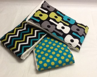 Set of 3 baby burp cloths in Groovy guitars, polka dots, and chevron