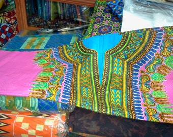 Pink Dashiki Fabric