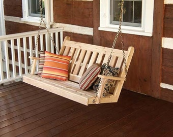 Red Cedar Traditional English 6ft. Outdoor Porch Swing