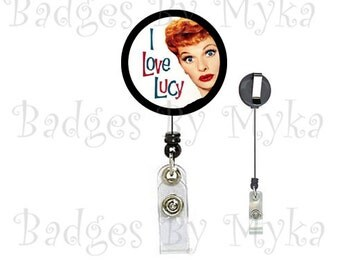 Retractable ID Badge Holder - I Love Lucy